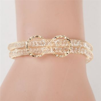 2017 new trendy luxury Gold color infinity bracelet full crystal women love double snake chain Friendship pulseras Jewelry