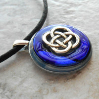 celtic knot necklace royal blue - mens jewelry - mens necklace - celtic jewelry - boyfriend gift - irish jewelry - unique gift - fathers day