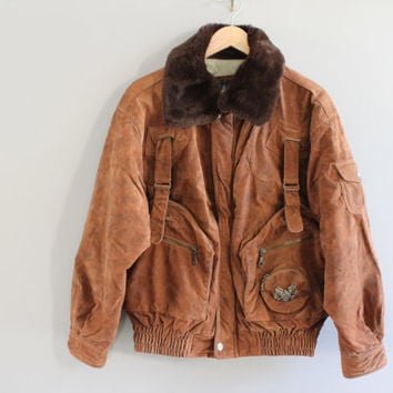 Rare SUNRISE dark brown AVIATOR bomber jacket/ unisex / military jacket/ airforce jacket/ pilot jacket size m - l