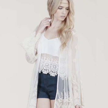 Embroidered Foliage Cardigan