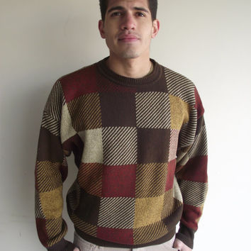 Mens Jos A. Bank Brown Neutral Square Pattern Grandpa Sweater Sz. Large