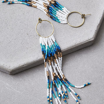 AEO Gold & White Seed Bead Duster Earrings, Gold
