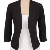 Black 3/4 Cinched Sleeve Open Front Blazer - Black