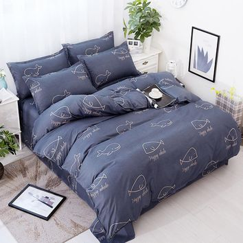 4pcs/set Lovely Bedding Cover Quilted Quilt 2pcs Pillowcase King Queen Twin Full Size Duvet Cover Air Conditioner Blanket