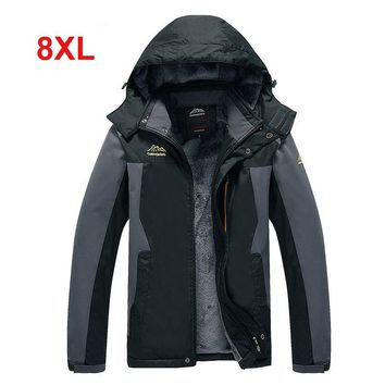 8XL oversized Men 2018 Winter Waterproof Hiking Camping Trekking Fishing Climb Hood Jacket Outdoor Coat Plus Size Fur Outwear