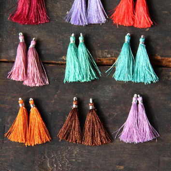 Marrakech / Silk Tassels from India / Rich Spice Colors, Jewelry Making Tassels or Craft Supplies / Boho Tassels / 2""