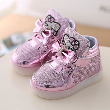 Hello Kitty Luminous Sneakers Glowing Shoes For Kids Led Girls Baby Shoes With Lights Up Shoes For Children Illuminated Sneakers