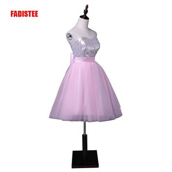 Hot sale sequin sexy mini prom party dress short bow A-line tulle dress