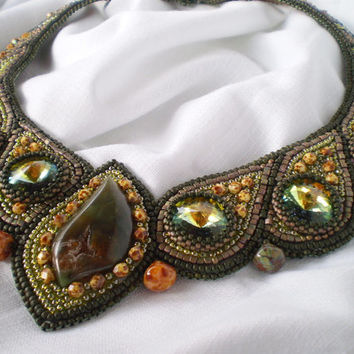 Bead Embroidery Collar Necklace Hope Seed beaded necklace Swarovski Khaki Olive green