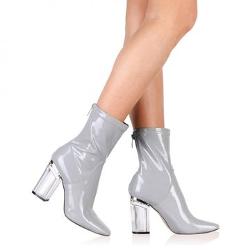 Chloe Clear Perspex Heeled Ankle Boots in Grey