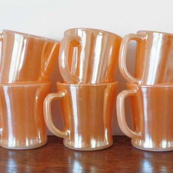 Vintage Fire King Peach Luster Mugs, D Handle, Copper Tint, Milk Glass Mugs, Set of 6