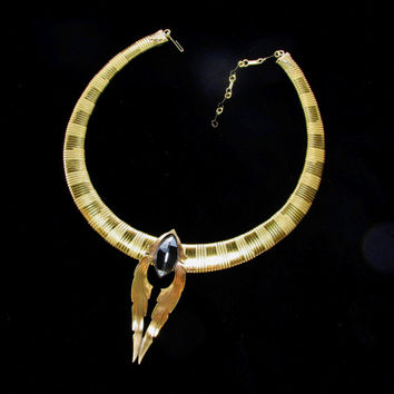 Necklace Early Ermani Bulatti Art Deco Choker Necklace With Center Cut Glass Stone Angel Wing Pendant Collectible Gift Item 958