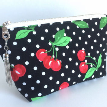 Cherry Makeup Bag, Cherry Cosmetic Bag, Small Cherry Pouch, Black Zipper Pouch, Cherry Purse Pouch