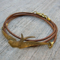 Fly Away - Vintage Sparrow Genuine Greek Leather Wrap Bracelet