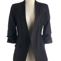 ModCloth Scholastic Mid-length 3 Speed Networking Blazer in Black