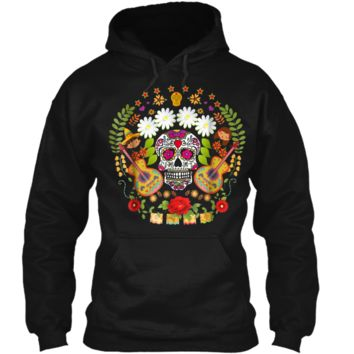 Day Of The Dead Tee  Mariachi Guitar Skull  Pullover Hoodie 8 oz