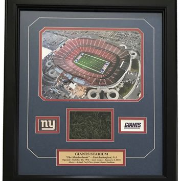 ORIGINAL GIANTS STADIUM GAME USED TURF COLLAGE #D/100 NY FRAME