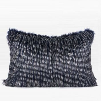 "Blue and White Two Tone Faux Fur Pillow 14""X20"""