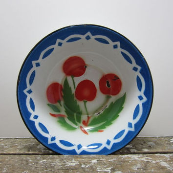 French Enamel Bowl Enamelware Enamel Bowl with Cherries Blue Enamelware Fruit Bowl Blue and Red French Cottage Farmhouse Enamelware