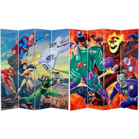 Justice League 6 Ft Tall Canvas Room Divider