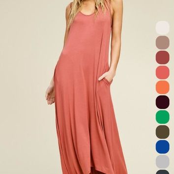 V-Neck High Low Maxi Dress - Brick