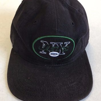RETRO NEW ERA 5950 NEW YORK JETS BLACK FLAT BRIM FITTED HAT