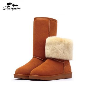 STARFARM Snow Boots Genuine Leather Warm Shoes Russian Boots Winter Shoes Women Shoes Woman Boots Chic Bootie Wool Boots New UGS