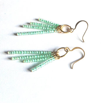 Earthy Bohemian Beaded Earrings in Seafoam Green - Boho Chic Customizable Earrings
