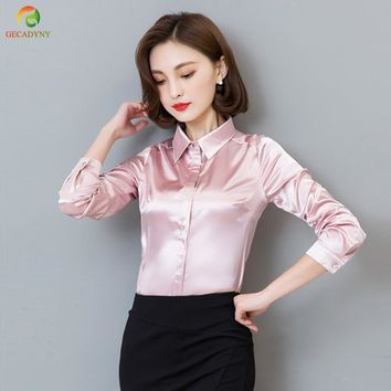 2017 New Peacock Blue Satin Shirt Women Long Sleeve Silk Blouses Women Work Wear Uniform Office Shirt Simple Blouse Tops S-3XL