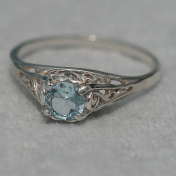 AAA Blue Topaz Ring , Filigree Antique Style Ring , Size 7.5 Ring , Blue Gemstone Ring by Maggie McMane Designs