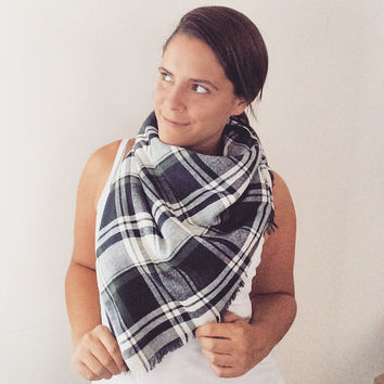 Plaid Blanket Scarf Navy Plaid Green Plaid Scarf Blanket Shawl Poncho Cowl Handmade Cozy Flannel Warm
