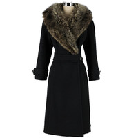 Vintage 1960's Black Wool Coyote Fur Collar Coat