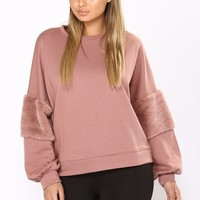 Restful Puffy Sleeve Top - Mauve