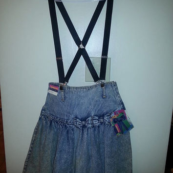 JORDACHE 80's acid washed bow jean skirt still with TAGS!