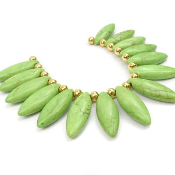 Lime Green Howlite Marquise Pendant Set, Gemstone Bead Set B90