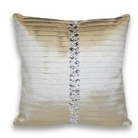 Thro by Marlo Lorenz 4236 Diana Pleated Rhinestone Faux Silk 18 by 18-Inch Pillow, Ivory