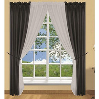 6 Piece Palmer Window In A Bag Curtain Set- Black/ Grey