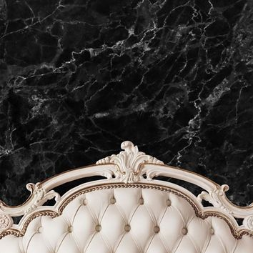 Cream Ivory Bed Tufted Headboard With Black Marble Wall Printed Backdrop - 6203