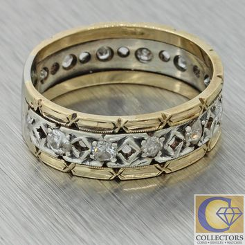 1880s Antique Victorian Filigree 14k Gold Silver 7mm Diamond Wedding Band Ring