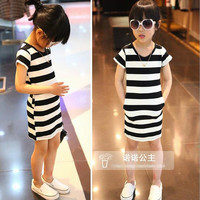 Children's Dresses 2015 Summer Girls Classic Stripes Dress Children's Short-sleeved A Dress.
