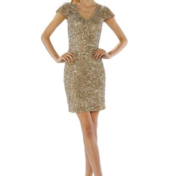 Theia - 882298 Gilded Sequined Mesh Bodycon Dress