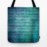Blue Music Tote Bag, sheet music  singer, musician gift, notes, travel bag, student,  teacher gift