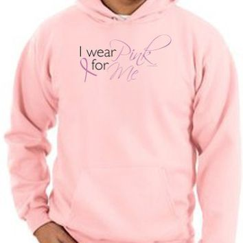 Breast Cancer Awareness Hoodie Ribbon I Wear Pink For Me Adult Hooded Pullover Hoody - Pink
