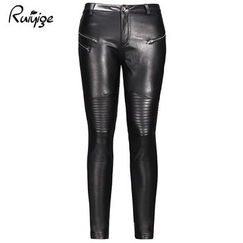 Ruiyige 2017 Winter New Sexy Women Black Solid Pleated Zipper Stretch Button Bodycon Pu Leather Pants Rock Pencil Long Trousers