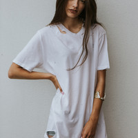 ZOE Distressed Tee - White