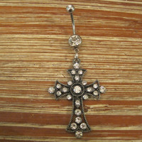 Belly Button Ring - Body Jewelry - Smoky Gray Rhinestone Studded Cross with Double Clear Gem Stones Belly Button Ring