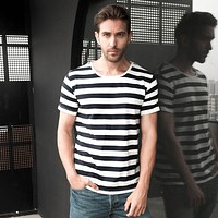 O-neck Navy Striped Sailor Loose Casual T-Shirt