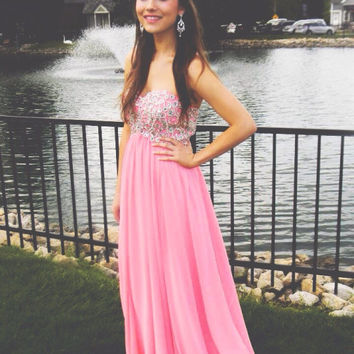 A-Line Sweetheart Pink Prom Dresses