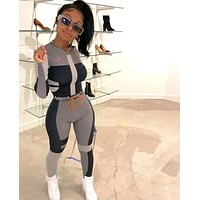 Women Fashion Two Piece Fitness Long Sleeve Top Pant Set