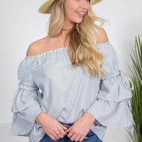 Pinstriped Belle Off-Shoulder Top